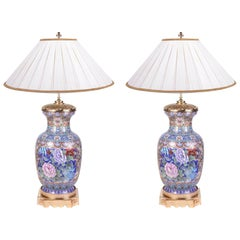 Pair of Early 20th Century Chinese Cloisonne Enamel Vases/Lamps