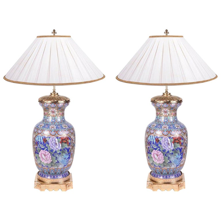 Pair of Early 20th Century Chinese Cloisonne Enamel Vases/Lamps For Sale