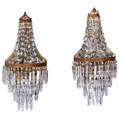Pair of Early 20th Century French Large Crystal Wedding Cake Sconces