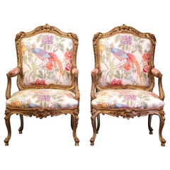 Pair Early 20th Century French Louis XV Carved Gilt Painted Bergères Fauteuils
