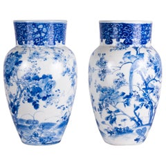 Pair of Early 20th Century Japanese Blue and White Vases