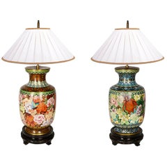 Pair Early 20th Century Japanese Cloisonné Enamel Vases or Lamps