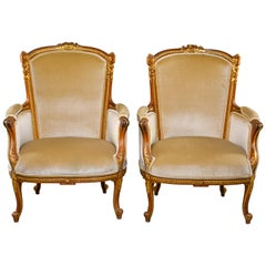 Pair of Early 20th Century Louis XV French Walnut and Gilt Chairs