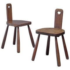 Pair Early 20th Century of Folk Art Chairs in Oak