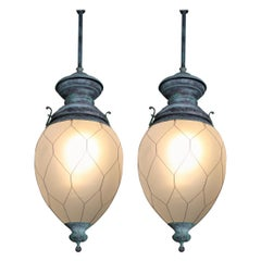Pair, Early 20th Century Verdigris Bronze Gas Lanterns Lights Pendants