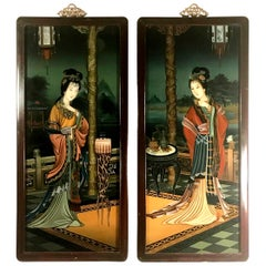 Pair of Early 20th Century Verre Eglomise Chinese Export Reverse Glass Paintings