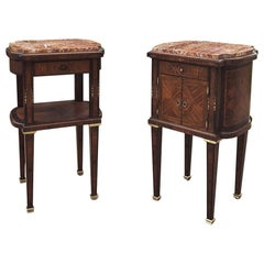 Pair Early Art Deco Period Louis XVI Style Rosewood Inlaid Nightstands with Jasp