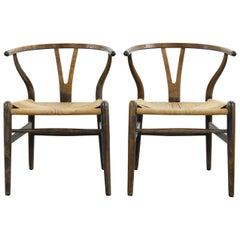 Pair of Early CH24 Wishbone Dining Chairs by Hans Wegner for Carl Hansen Denmark