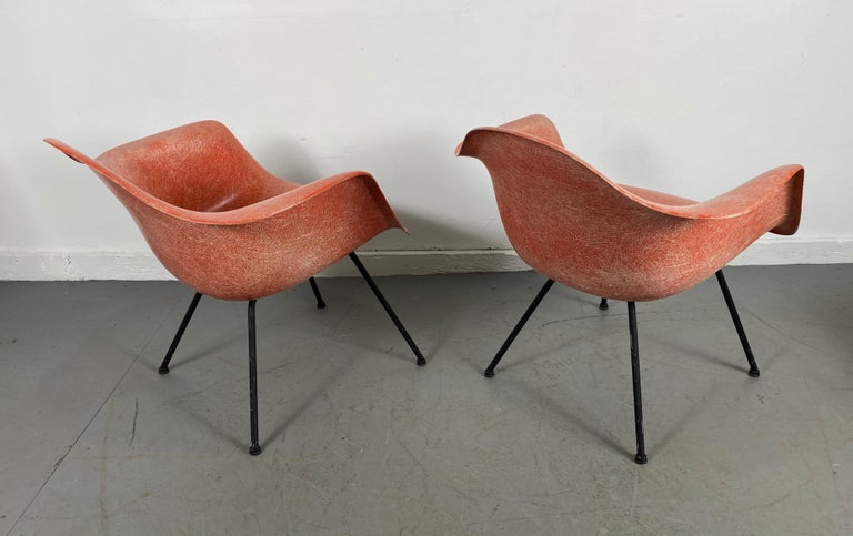 Pair of Early Charles Eames LAX Armshell, 'Lounge Chairs X BASE' For Sale 1