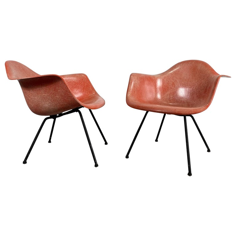 Pair of Early Charles Eames LAX Armshell, 'Lounge Chairs X BASE' For Sale