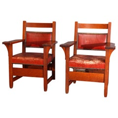 Pair of Early Gustav Stickley Arts & Crafts Mission Oak Fireside Armchairs