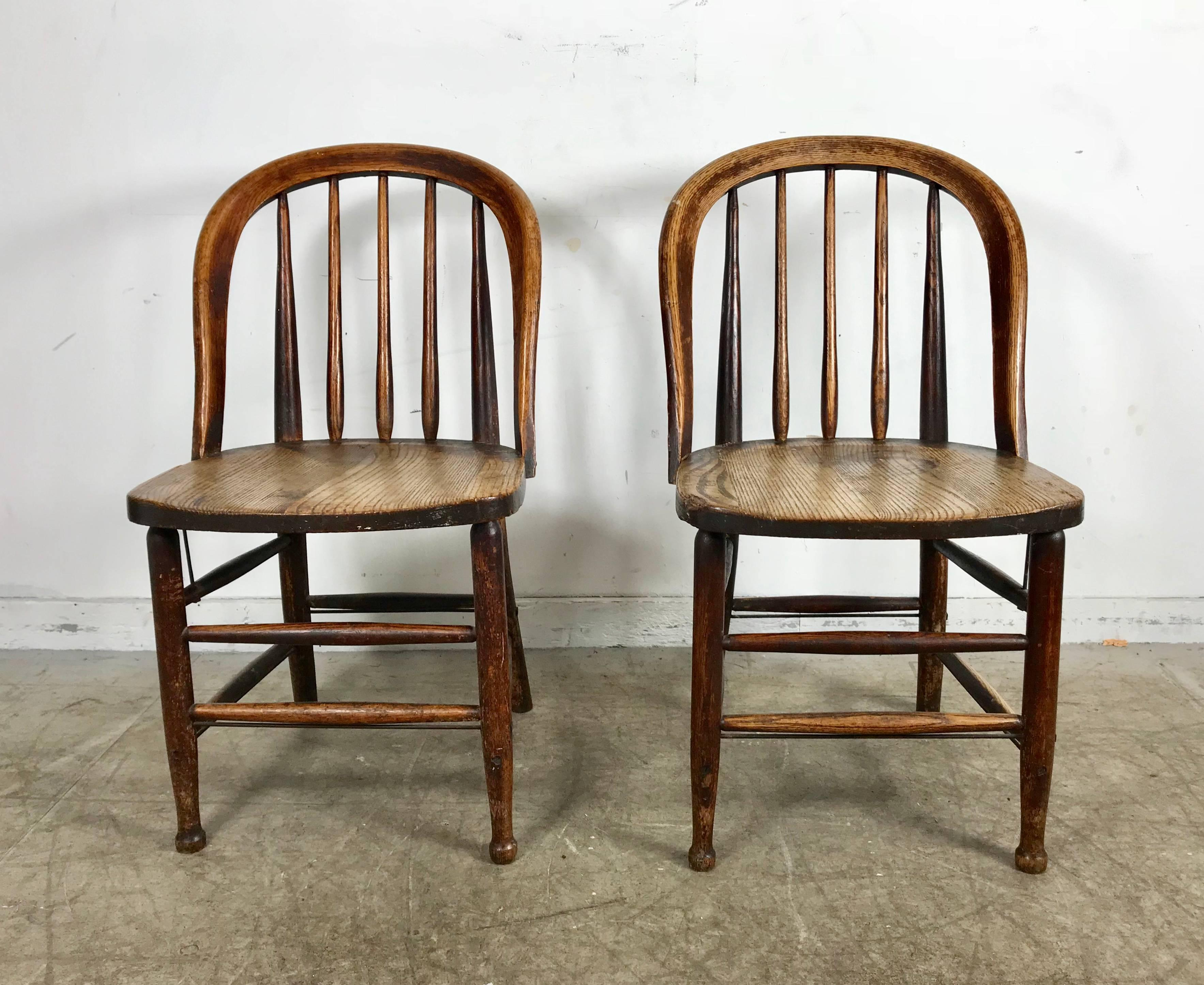 Pair Of Early Oak Antique Industrial Side Chairs By Heywood Wakefield,  Solid Oak Construction,