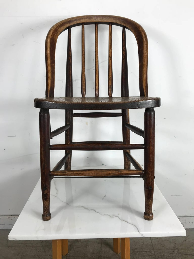 Pair of Early Oak Antique Industrial Side Chairs by Heywood Wakefield In  Distressed Condition For Sale - Pair Of Early Oak Antique Industrial Side Chairs By Heywood