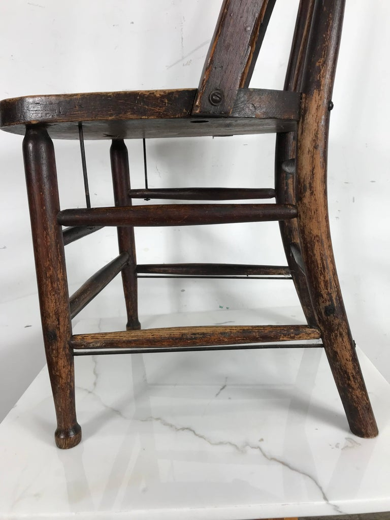 Pair of Early Oak Antique Industrial Side Chairs by Heywood Wakefield For  Sale 1 - Pair Of Early Oak Antique Industrial Side Chairs By Heywood