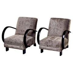 Pair of Ebonised Jindrich Halabala Chairs with New Upholstery