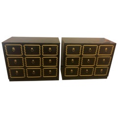 Pair of Ebony Dorothy Draper Espana Bachelor Chests, Nightstands or Commodes