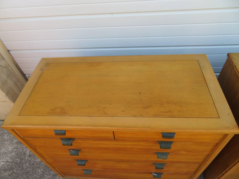 Plated Pair of Edward Wormley Precedent Bachelor Chest Dressers, Mid-Century Modern For Sale