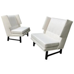 Pair of Edward Wormley Dunbar High Back Chairs Wormley Estate Weston ct