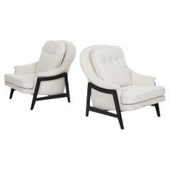 Pair Edward Wormley Janus Collection Lounge Chairs & Ottoman, Dunbar Model 5701