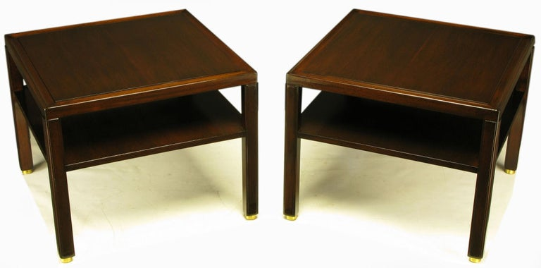 American Pair Edward Wormley Mahogany End Tables with Brass Feet For Sale