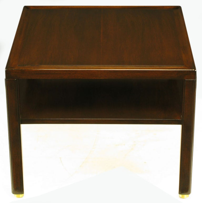 Pair Edward Wormley Mahogany End Tables with Brass Feet In Good Condition For Sale In Chicago, IL