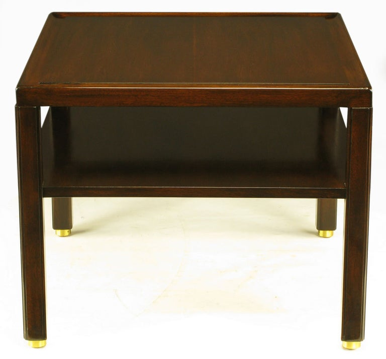 1950s Pair Edward Wormley Mahogany End Tables with Brass Feet For Sale