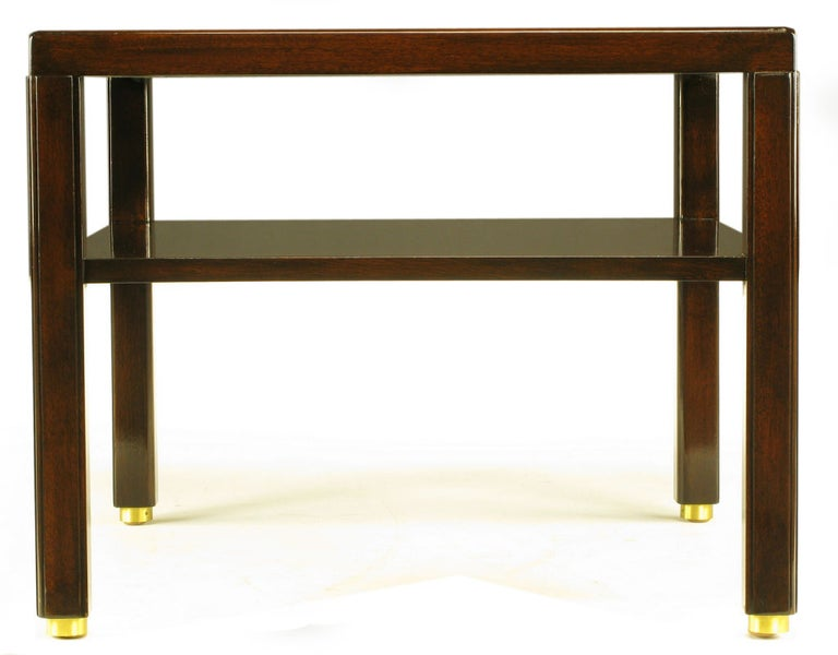 Pair Edward Wormley Mahogany End Tables with Brass Feet For Sale 1