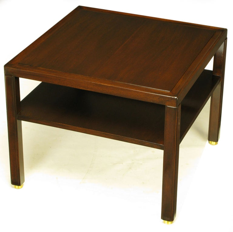 Pair Edward Wormley Mahogany End Tables with Brass Feet For Sale 2