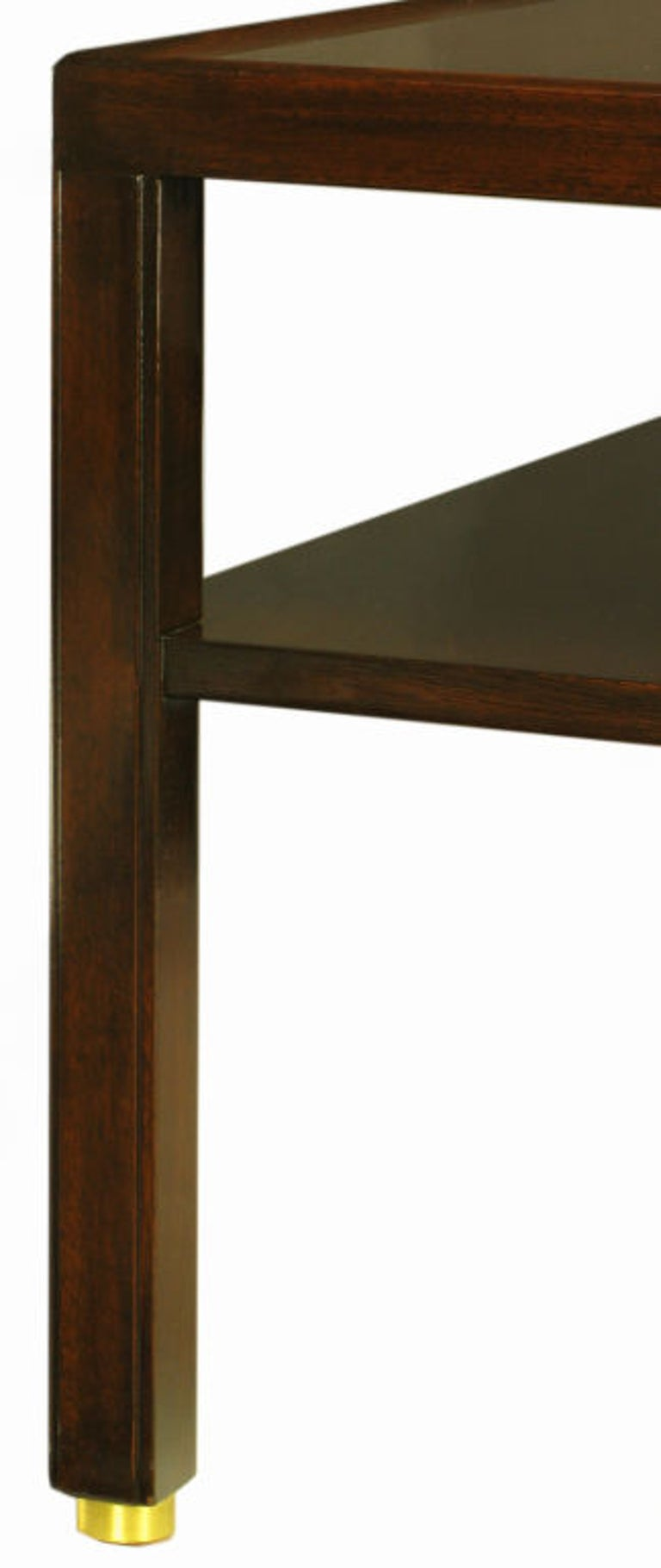 Pair Edward Wormley Mahogany End Tables with Brass Feet For Sale 3