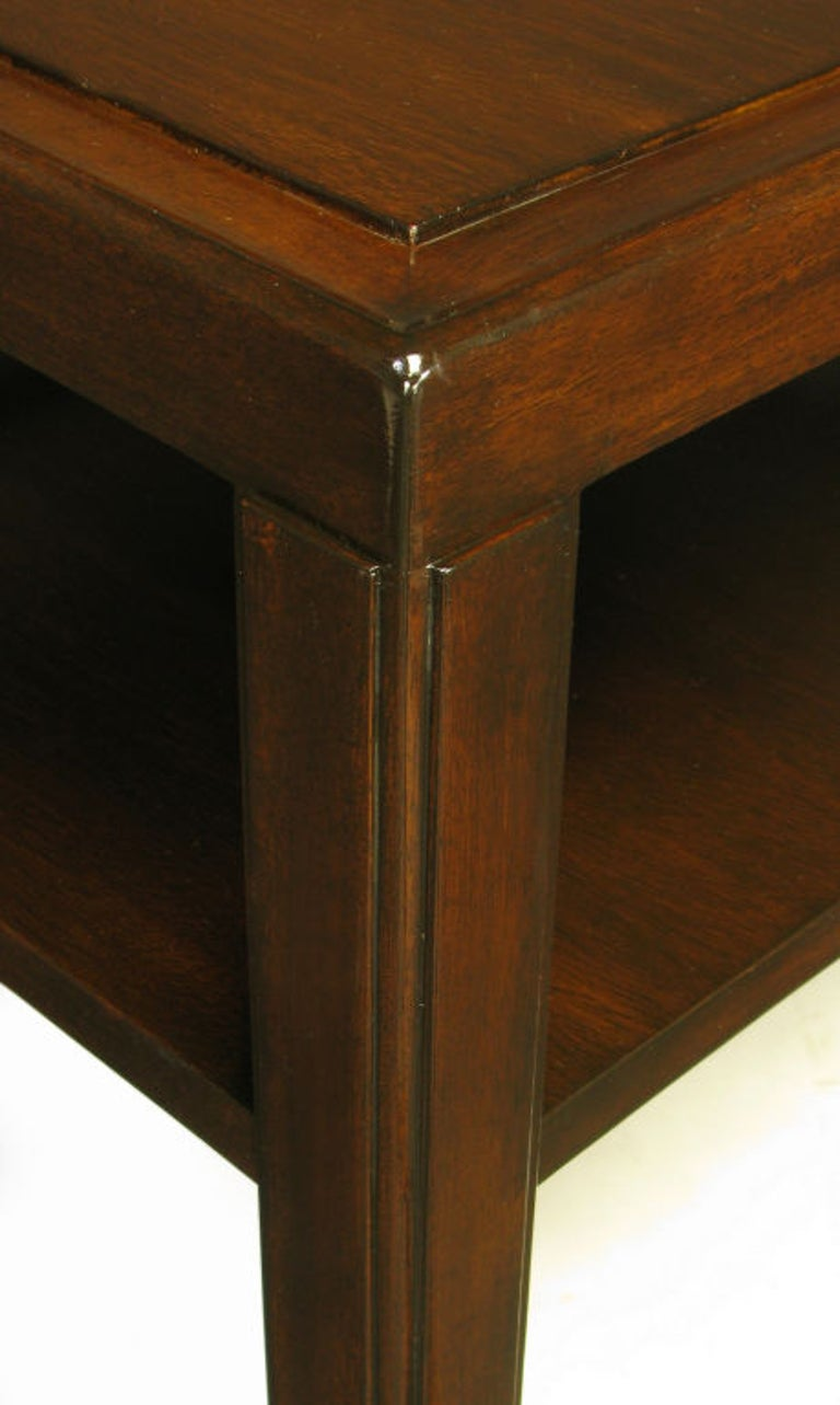 Pair Edward Wormley Mahogany End Tables with Brass Feet For Sale 4