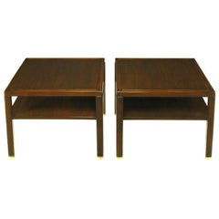 Pair Edward Wormley Mahogany End Tables with Brass Feet