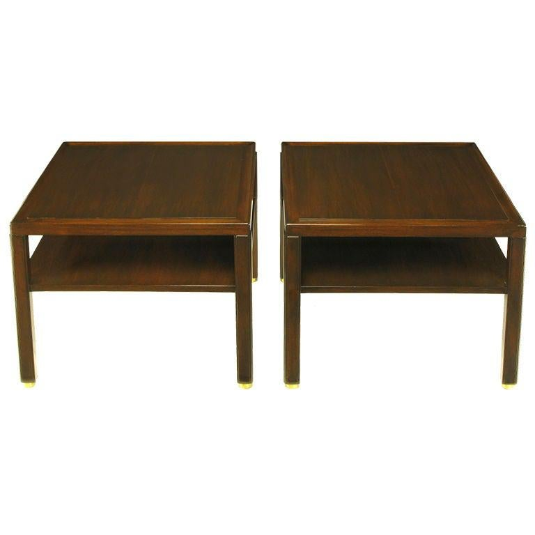 Pair Edward Wormley Mahogany End Tables with Brass Feet For Sale