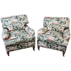 Pair of Edward Ferrell Polo Players Edwardian Upholstered Club Chairs