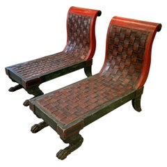 Pair of Egyptian Revival Chaises