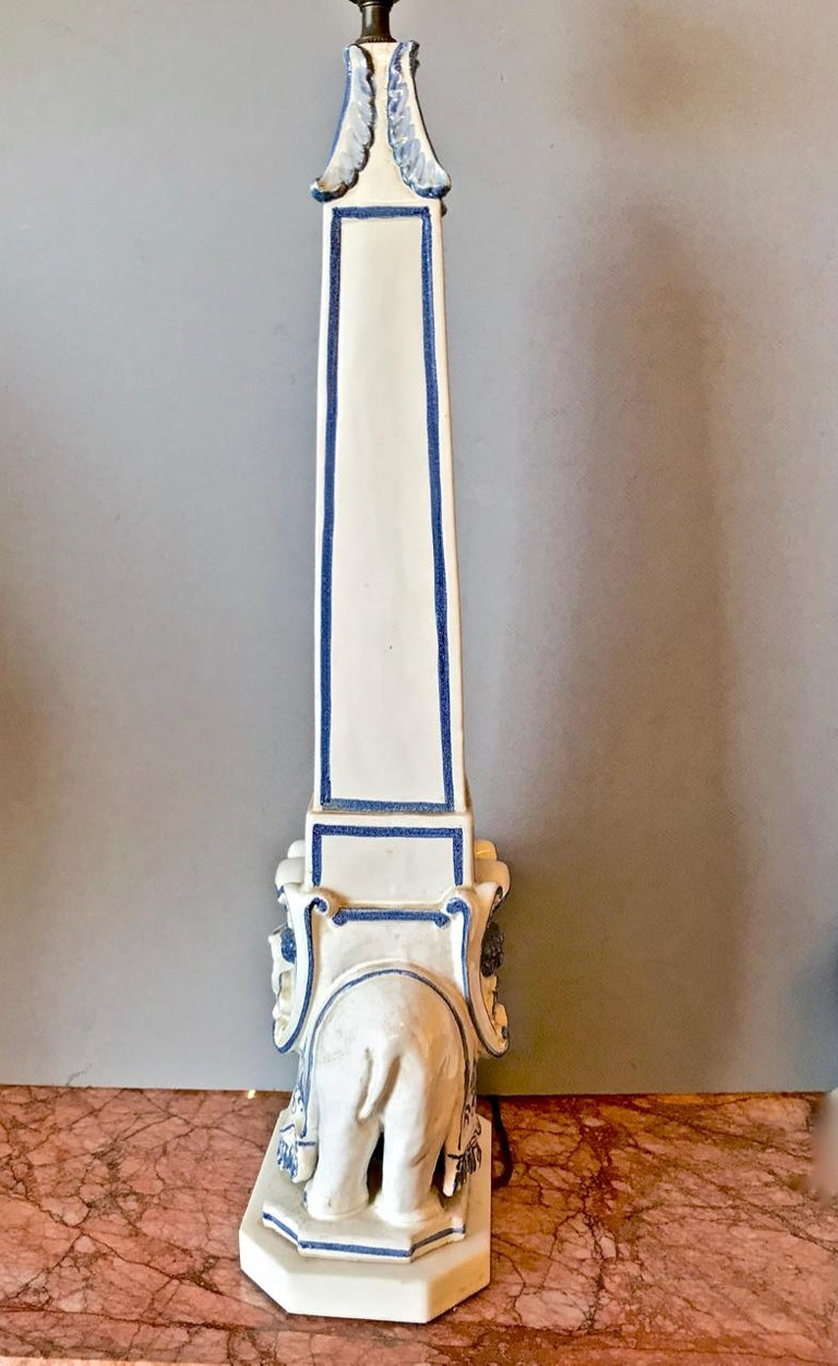 Pair of Elephant Obelisk Lamps, circa 1960s In Good Condition For Sale In Pasadena, CA
