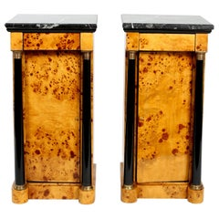 Pair Empire Style Marble-Top Bar / Wood Half Commodes
