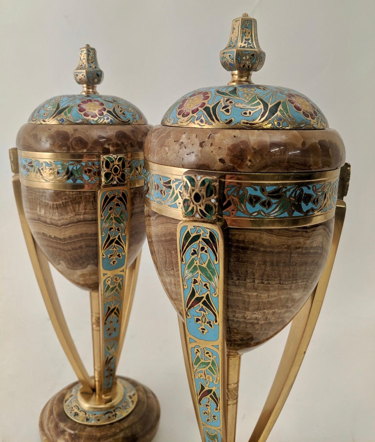 Champlevé Pair of Enamel and Onyx Art Nouveau French Urns, circa 1890 For Sale