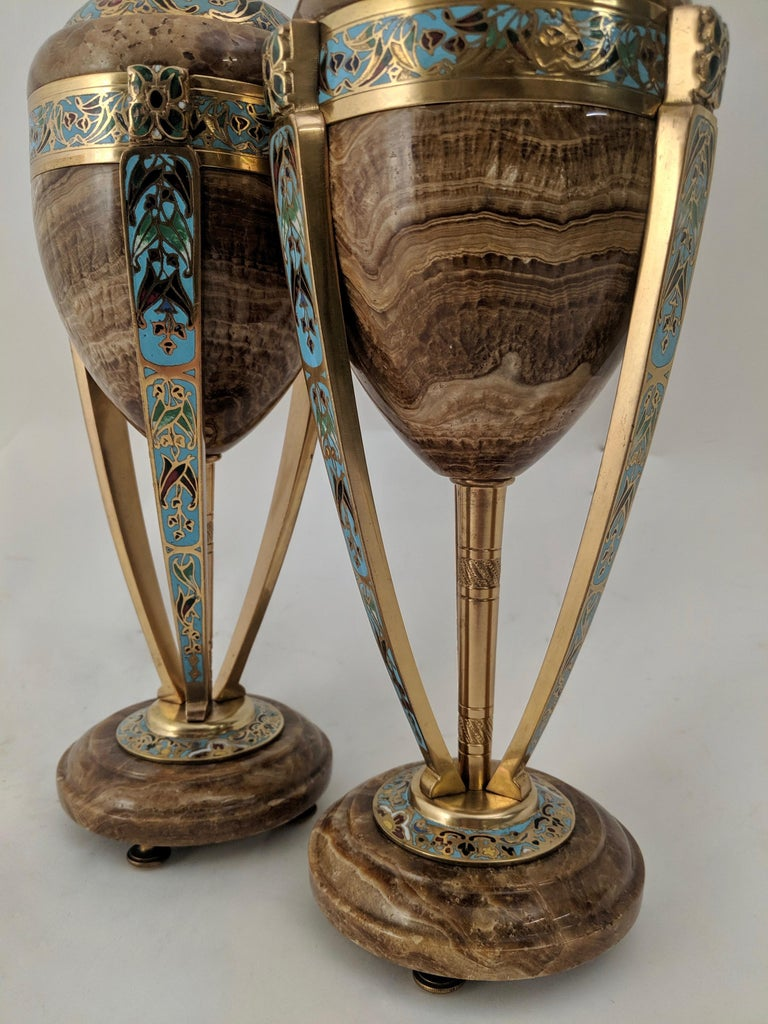 Pair of Enamel and Onyx Art Nouveau French Urns, circa 1890 For Sale 3