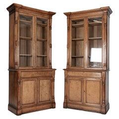 Pair English 19thC Oak Bookcase Cabinets
