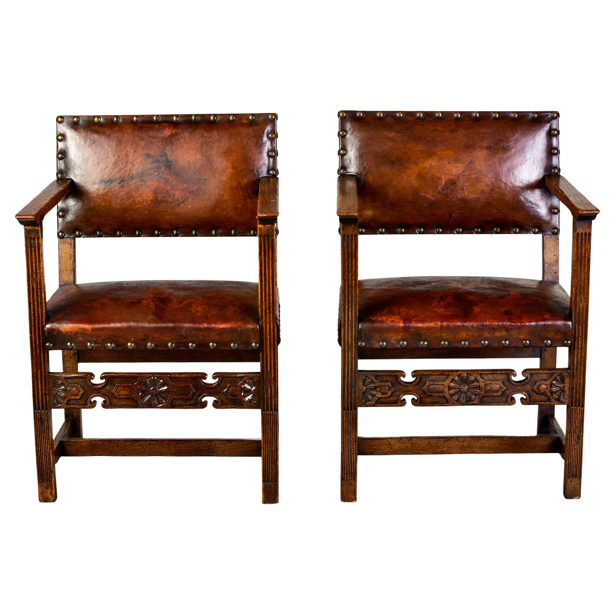 Pair English Arts and Crafts Oak Chairs With Original Leather