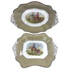 Pair English Exotic Equestrian Serving Dishes