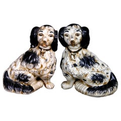 Pair of English Figural Staffordshire Pottery Spaniel Dogs, 20th Century