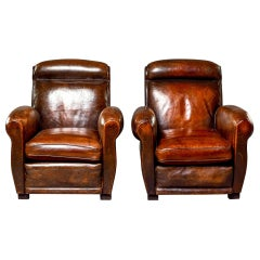 Pair of English High Back Club Chairs with Original Leather