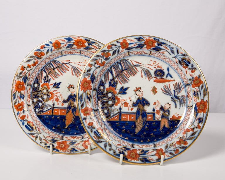 Hand-Painted Pair English Imari Dishes Made by Davenport For Sale