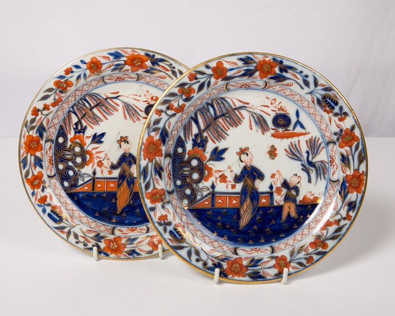 Pair English Imari Dishes Made by Davenport For Sale 1