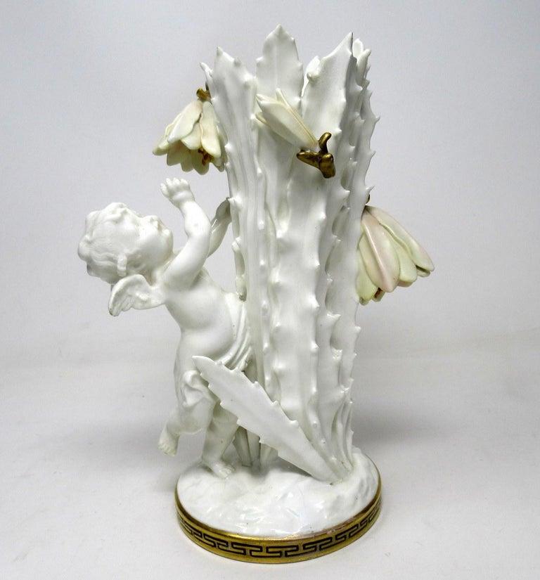 Ceramic Pair of English Moore Brothers Porcelain Cream Gilt Cherub Vases Centerpieces For Sale