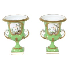 Pair English Porcelain Floral Decorative Vases / Urns