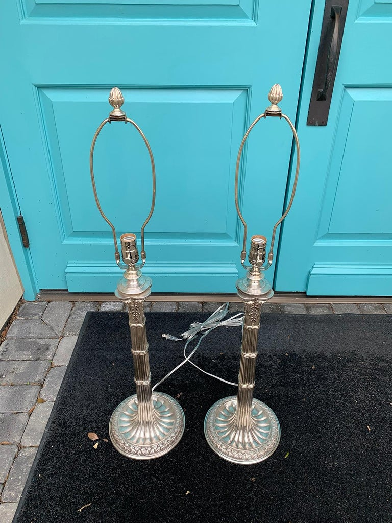Pair of English Prob. Edwardian Silver Plated Column Lamps, circa 1900 For Sale 7