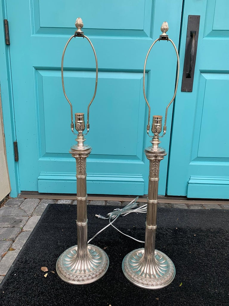 Pair of turn of the century English Prob. Edwardian silver plated column lamps, circa 1900. Exceptional quality and original surface.
