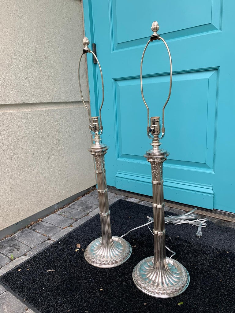 Pair of English Prob. Edwardian Silver Plated Column Lamps, circa 1900 For Sale 2